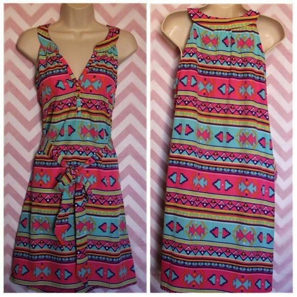 Dresses & Skirts - Colorful Aztec Boho Dress Size M NWT